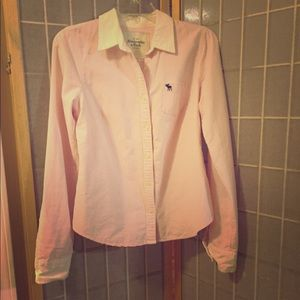 Abercrombie Pink and White Button Down Shirt